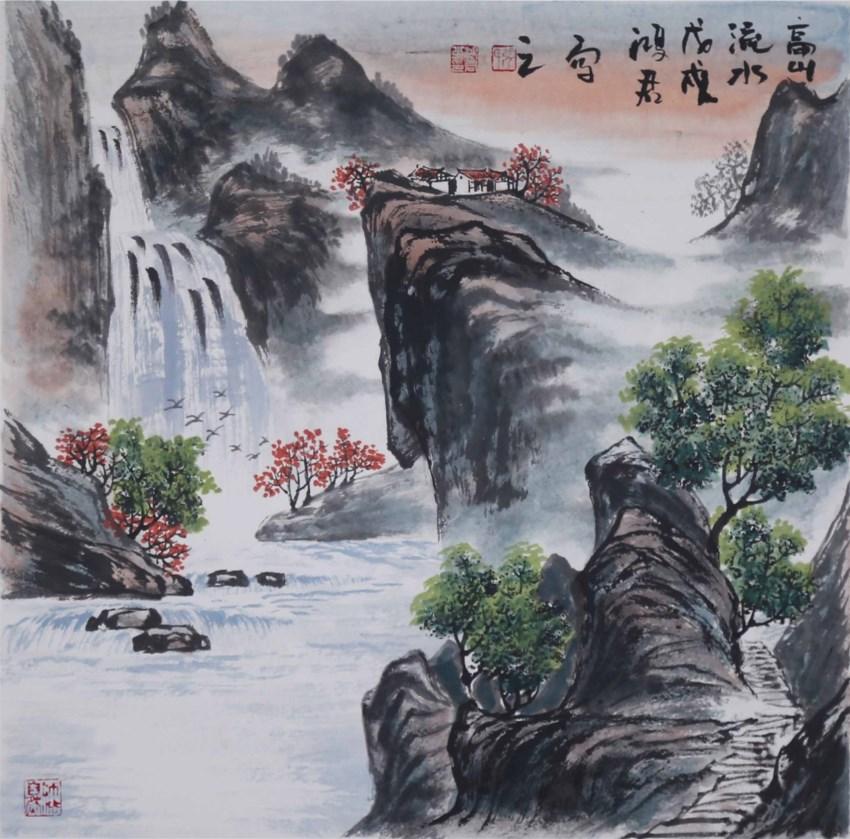 ZHJ0417 张鸿君 山水 硬卡斗方 山高水长 68cmX68cm 2018.JPG